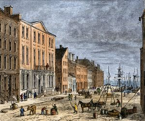 Wall Street's Tontine Coffee House in the late 1700s
