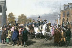 Washington entering New York City after British evacuation, 1783