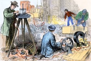 Wiring New York City for electricity, 1880s