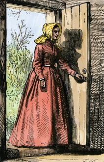 Woman entering a rural home, 1800s