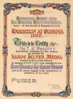 Certificate awarded to Mr T E Pescott at Olympia, 1935