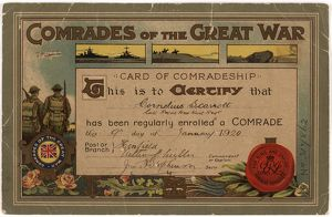 Comrades of the Great War Certificate 1920
