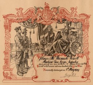 Discharge certificate for No.121925 Pte Thomas Pescott, Machine Gun Corps Infantry)