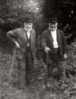 Two elderly gentlemen at Upperton, West Sussex, September 1935