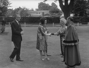 Joan Plowright being greeted by the Mayoress of Chichester, 25 June 1962