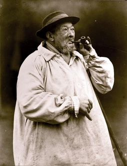 'Old Shep' lighting his pipe, January 1925