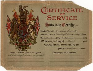 Royal Sussex Regiment Certificate of Service 1907/1908