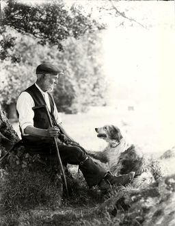 Shepherd of Goodwood with crook and sheep dog, July 1933