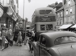 Southdown Bus with traffic and passers-by