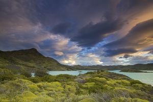 Clouds over Lago Pehoe at Sunset, Torres del Paine National Park, southern Chile