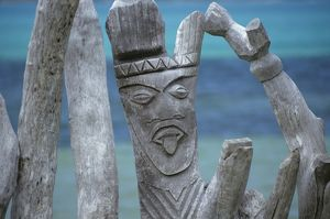 Fishermen Totems, St. Maurice Bay, Isle of Pines, New Caledonia, Sculpture