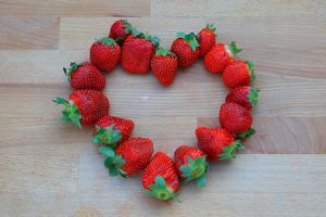 Heart from strawberries