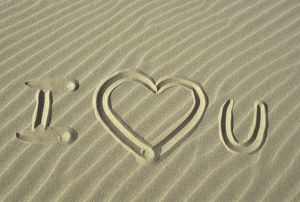 I Love You in Sand, OR Coast, Wind rippled Beach. heart