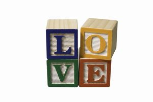 'LOVE', children's alphabet blocks
