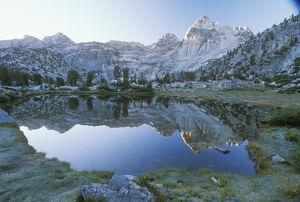Pond & reflection of Painted Lady, dawn, Rae Lakes Basin, Kings Canyon NP