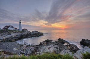 Portland Head Lighthouse, lighthouse at sunrise in South Portland, Maine