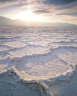 Salt Plates near Badwater Basin, Salt Flat under Panamint Mts., Death Valley HM, CA