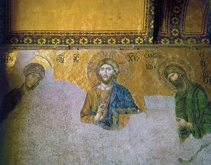 The 13th century Deesis mosaic in the South Gallery of the Hagia Sophia in Istanbul