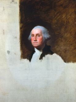 (1732-1799). 1st President of the United States. Oil on canvas, 1796, by Gilbert Stuart