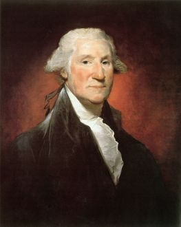 (1732-1799). 1st President of the United States. Oil on canvas, 1795, by Gilbert Stuart