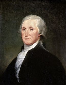 (1732-1799). First President of the United States. Painting by John Trumbull, 1793.