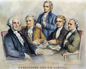(1732-1799). First President of the United States. Washington and his Cabinet. Left to right