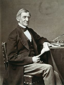 (1803-1882). American philosopher and man of letters. Photographed in London in 1873.