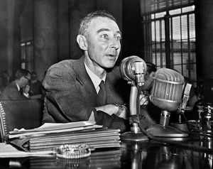 (1904-1967). American physicist. Oppenheimer testifying before the Joint Congressional