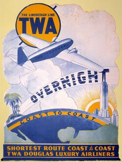 vintage ads/1934 trans world airlines poster introducing new