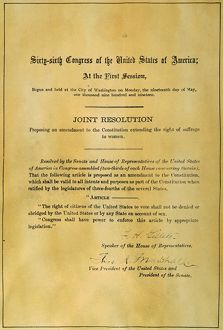 19th AMENDMENT, 1919. The Congressional Resolution for the submission of the Nineteenth