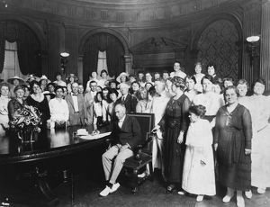 19th AMENDMENT, 1919. Missouri Governor Frederick Gardner signing the resolution