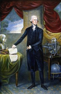 3rd President of the United States. Stipple engraving, c1801, by Cornelius Tiebout.