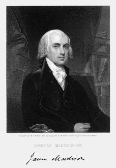 4th President of the United States. Stipple engraving, 1836, by W
