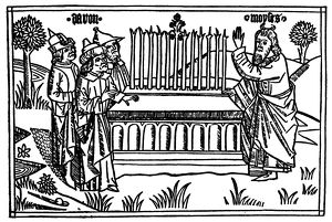 AARON'S ROD. Moses (right) observes as Aaron's rod, representing the tribe of Levi