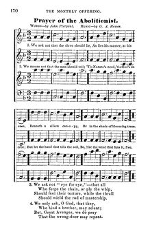 african american history/abolitionist song c1843 song sheet prayer abolitionist