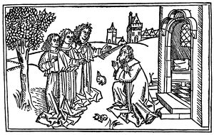 ABRAHAM & THREE ANGELS. (Genesis 18: 1-8). Woodcut from the Cologne Bible, 1478-80