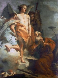 ABRAHAM & ANGELS. Oil on canvas by Giambattista Tiepolo: oil on canvas, c1767-70
