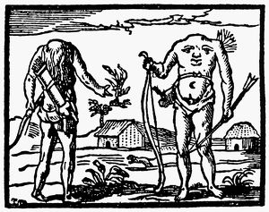 ACEPHALI MONSTER, 1563. The Acephali, the headless people of Libya