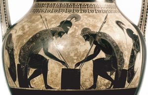 Achilles and Ajax playing checkers. Attic amphora, possibly by Exekias, c540 B.C.