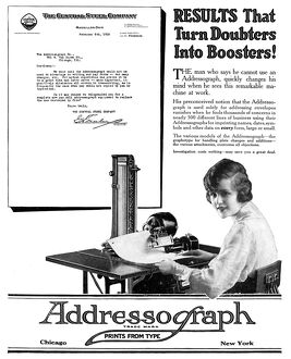 AD: ADDRESSOGRAPH, 1919. American advertisement for the Addressograph, 1919