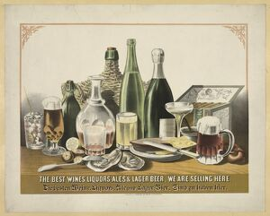 AD: ALCOHOL, c1871. American advertisement, 'The best wines, liquors, ales &
