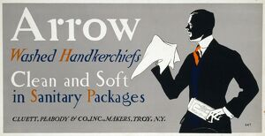 AD: ARROW, c1925. Advertisement for Arrow handkerchiefs. Lithograph by Edward Penfield