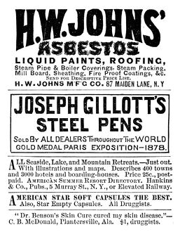 AD: ASBESTOS, 1883. American magazine advertisement for H.W. Johns' asbestos, 1883