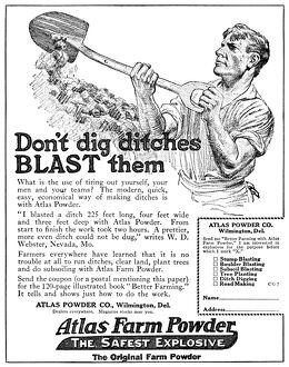 AD: ATLAS FARM POWDER. American advertisement for an explosive powder produced