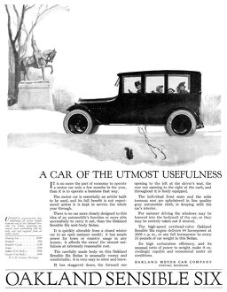 AD: AUTOMOBILE, 1918. American advertisement for the Oakland Sensible Six, manufactured