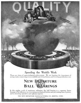 AD: BALL BEARING, 1918. American advertisement for New Departure Ball Bearings