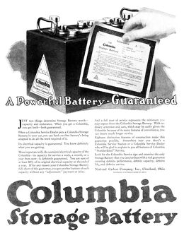 AD: BATTERY, 1918. American advertisement for the Columbia Storage Battery. Illustration