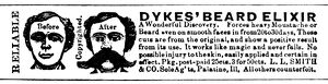 AD: BEARD ELIXIR, 1879. American advertisement for Dykes' Beard Elixir, 1879