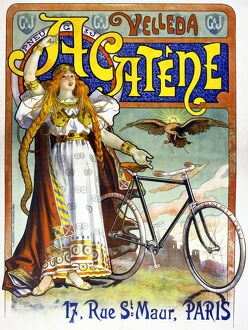 AD: BICYCLES, 1898. Advertisement for Acatene bicycles. Lithograph by Lucien Baylac