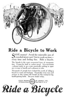 AD: BICYCLES, 1920. American advertisement from the Cycle Trades of America. Illustration